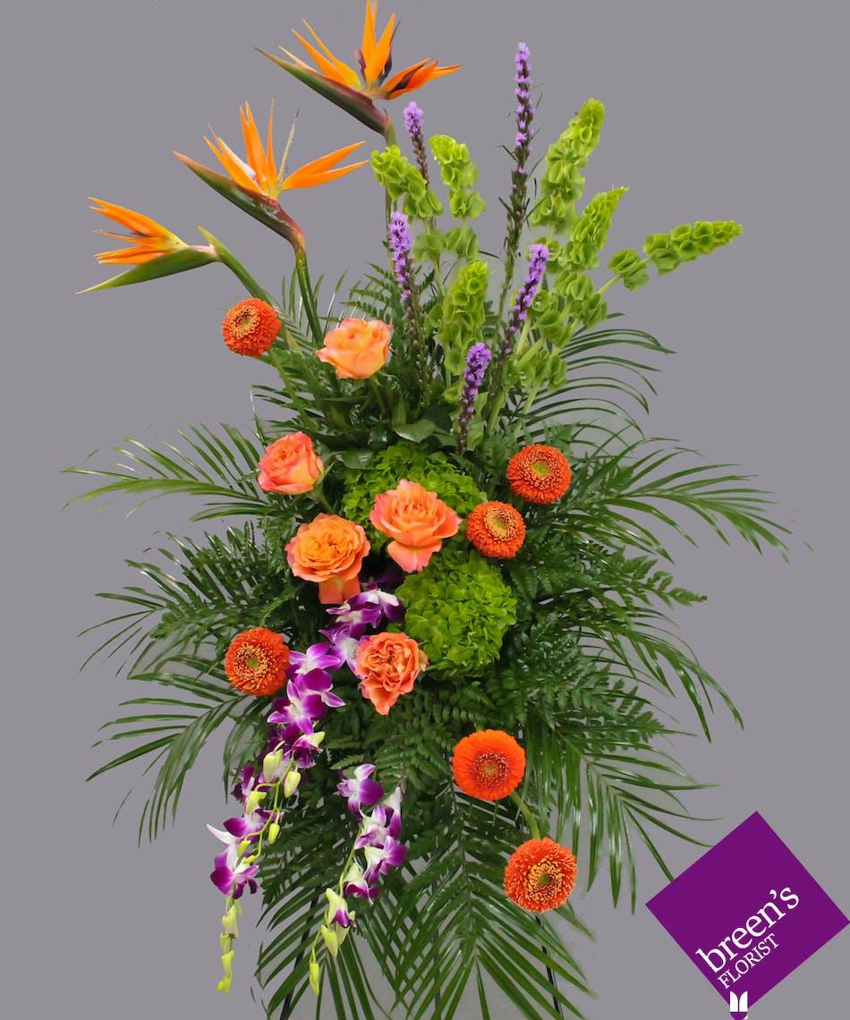 Contemporary Memorial Spray Funeral Flowers Houston Tx