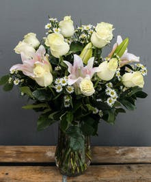 White Roses & Lilies | Breen's Florist