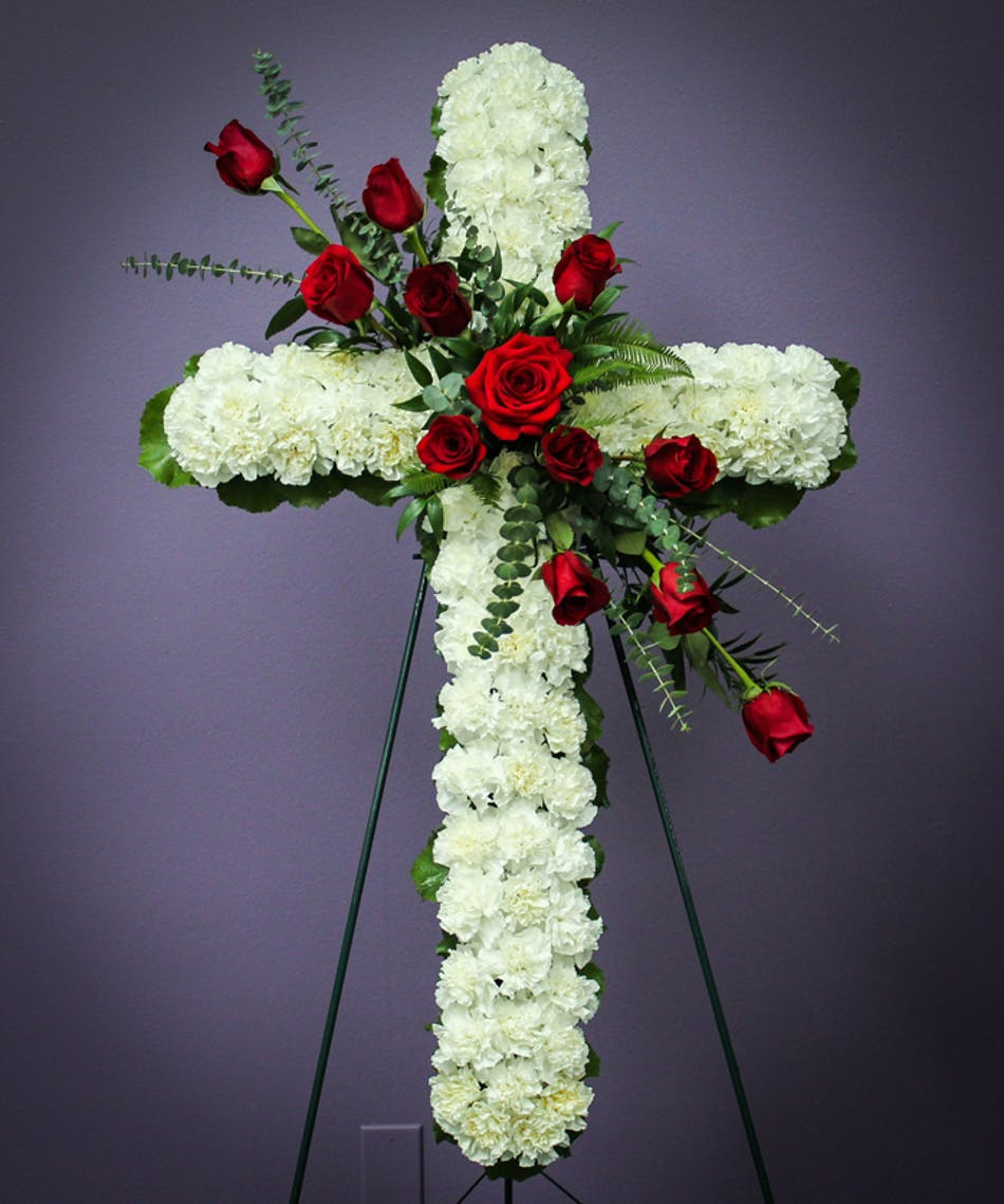 Standing rose cross breens florist funeral flowers houston izmirmasajfo