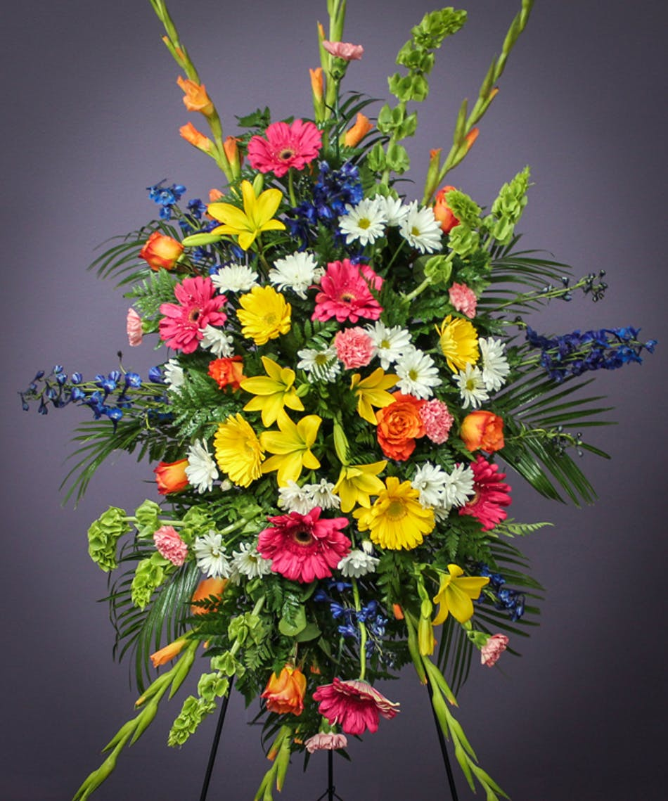 Lasting Beauty Standing Spray Breens Florist Funeral Flowers
