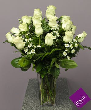 18 White Roses In Houston Florist Delivered