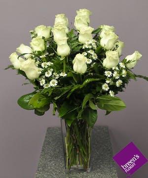 18 White Roses In Houston Florist Delivered